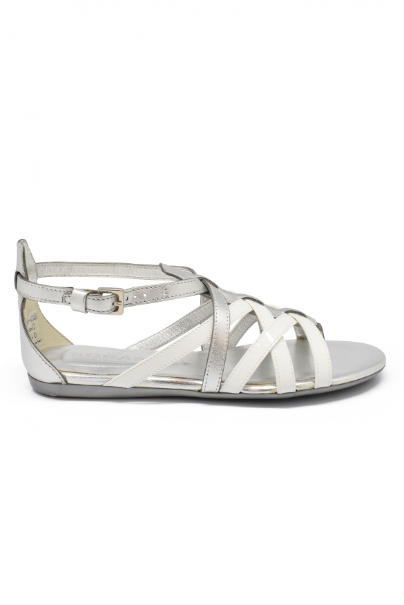 Luxury shoes for women -  Hogan Valencia sandals in silver and white leather