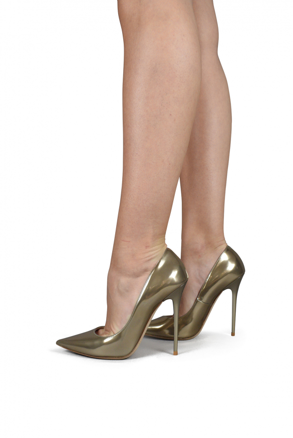 Luxury shoes for women - Jimmy Choo Anouk pumps in gold liquid mirror leather