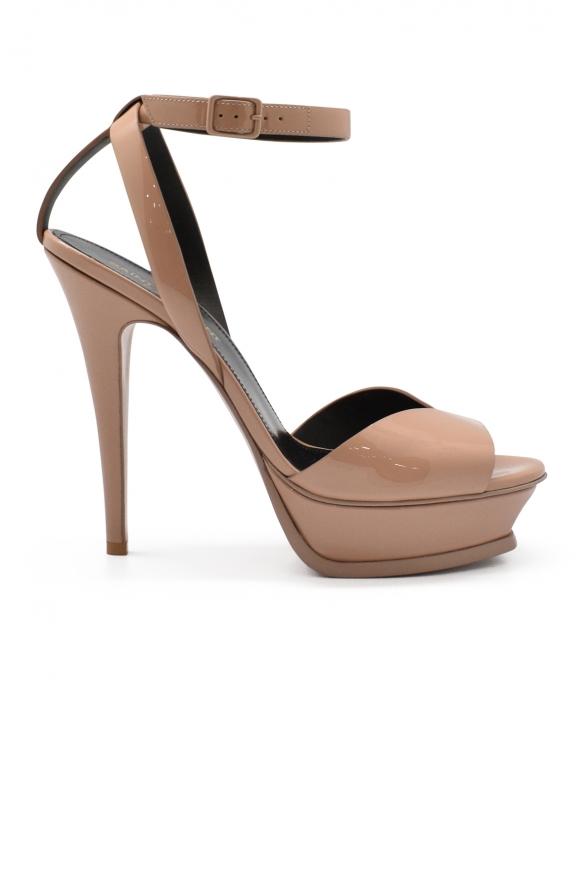 Luxury shoes for women - Saint Laurent Tribute lips nude sandals