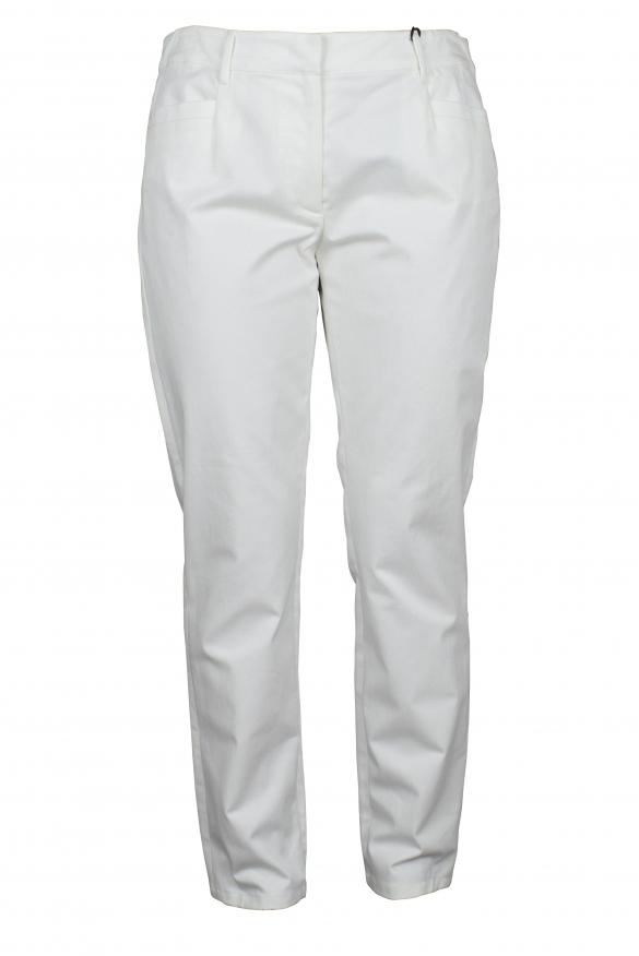 Luxury pants for women - Prada white cotton pants