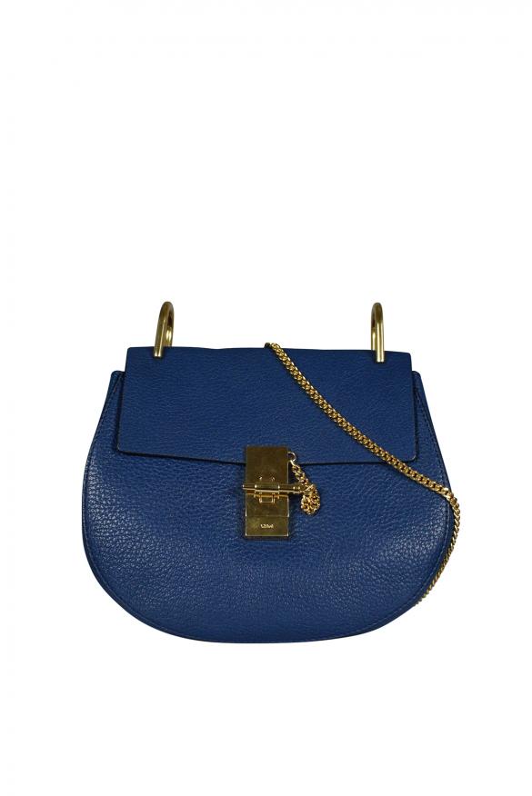 Luxury handbag - Chloé Drew navy blue leather shoulder bag