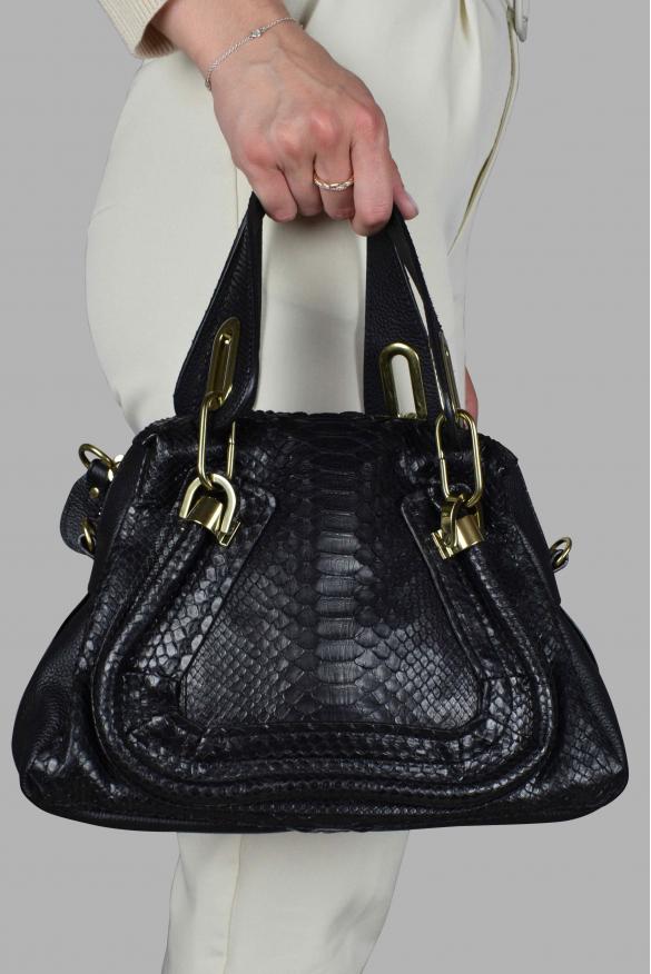 Luxury handbag - Chloé Paraty mini black handbag in pyhton