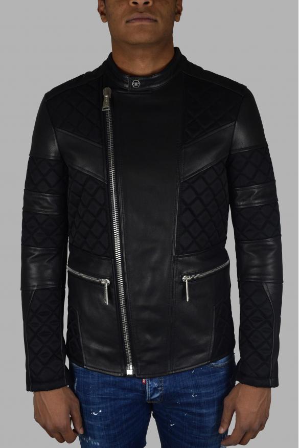 Men's luxury jacket - Philipp Plein biker jacket in black leather and fabric