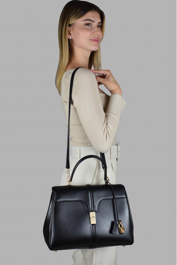 Luxury handbag - Celine 16 medium bag in black leather