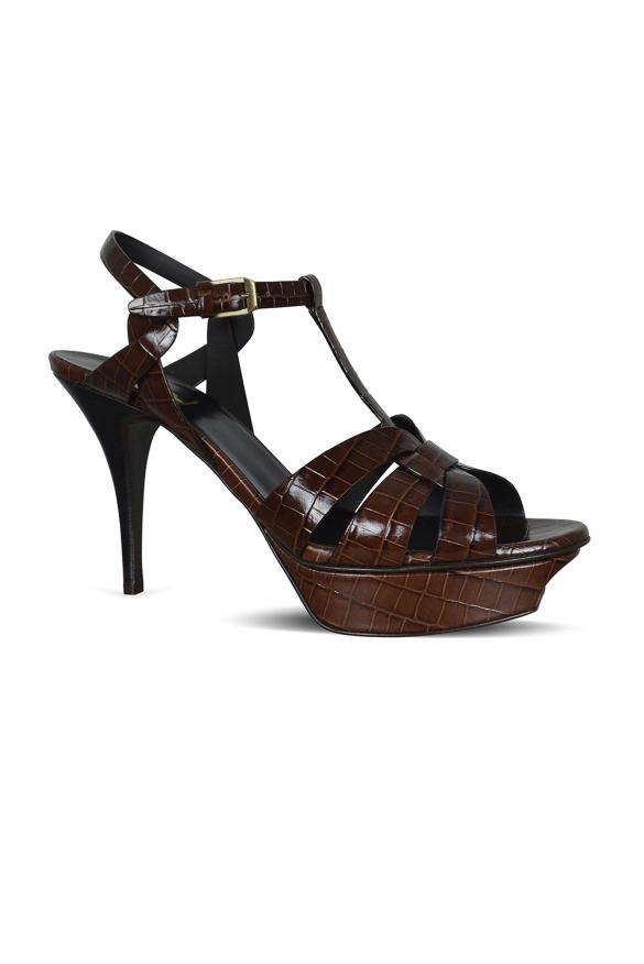 Women's luxury shoes - Saint Laurent Tribute sandals in brown crocodile leather
