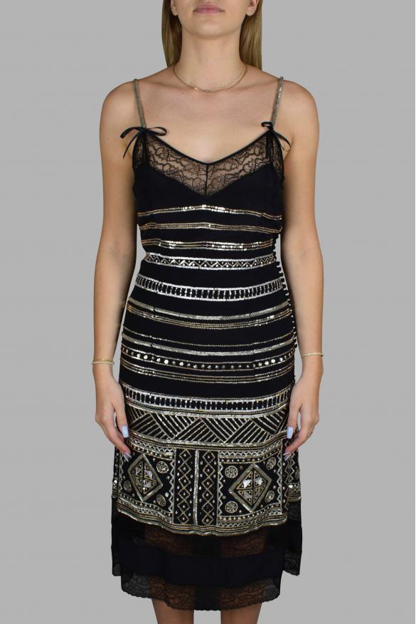 Luxury dress for women - Christian Dior black silk strap dress