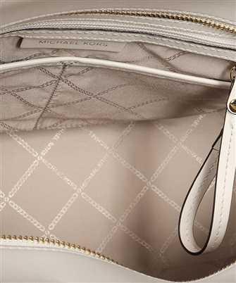 Michael Kors CARMEN LARGE STRIPED JACQUARD AND LEATHER TOTE Bag