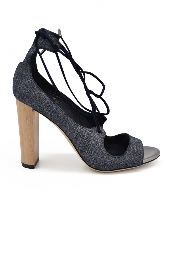 Luxury shoes for women - Jimmy Choo Vernie 100 sandals in blue denim