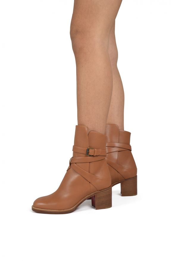 Women's luxury boots - Karistrap Louboutin ankle boots in gold leather