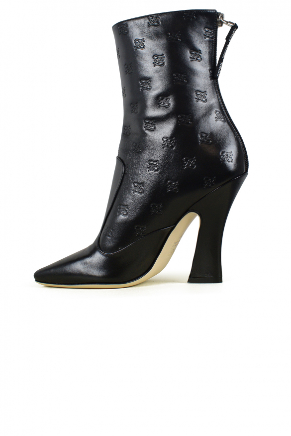 Luxury shoes for women - Fendi black leather ankle boots with logo and zip
