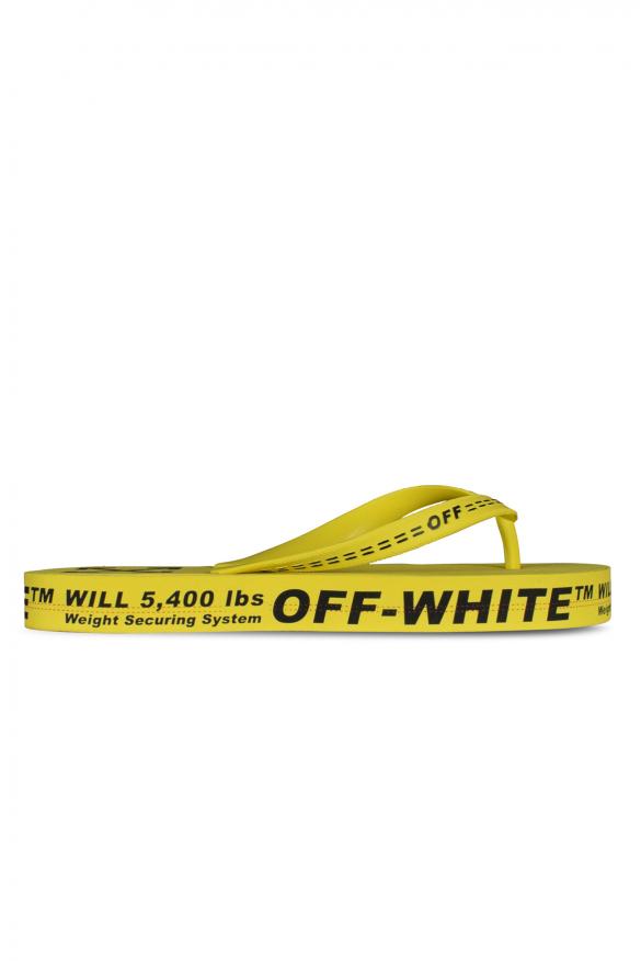 Men's luxury flip flops - Off-White yellow flip flops with logo