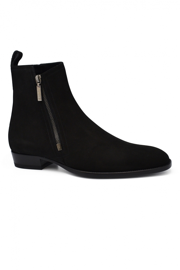 Luxury shoes for men - Saint Laurent zipped boots in black suede