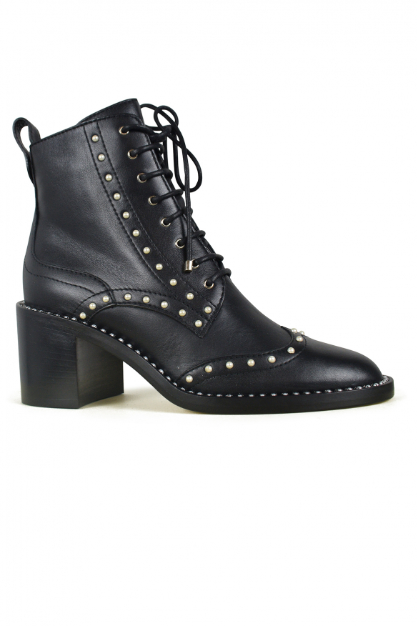 Luxury shoes for women - Jimmy Choo Hannah black boots with pearls