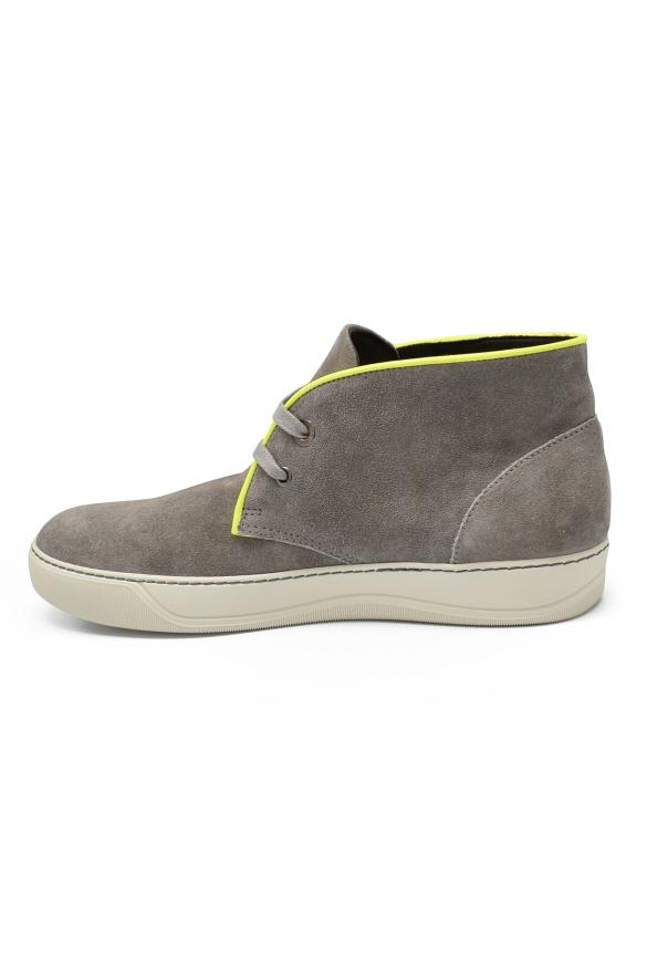 Luxury sneakers for men - Lanvin mid-top sneakers in grey suede