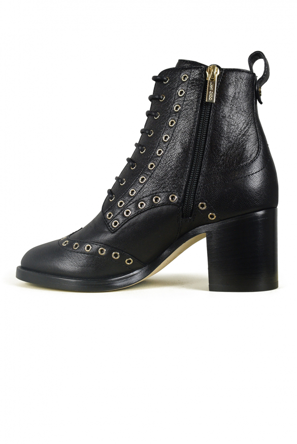 Luxury shoes for women - Jimmy Choo Hannah black boots and gold studs