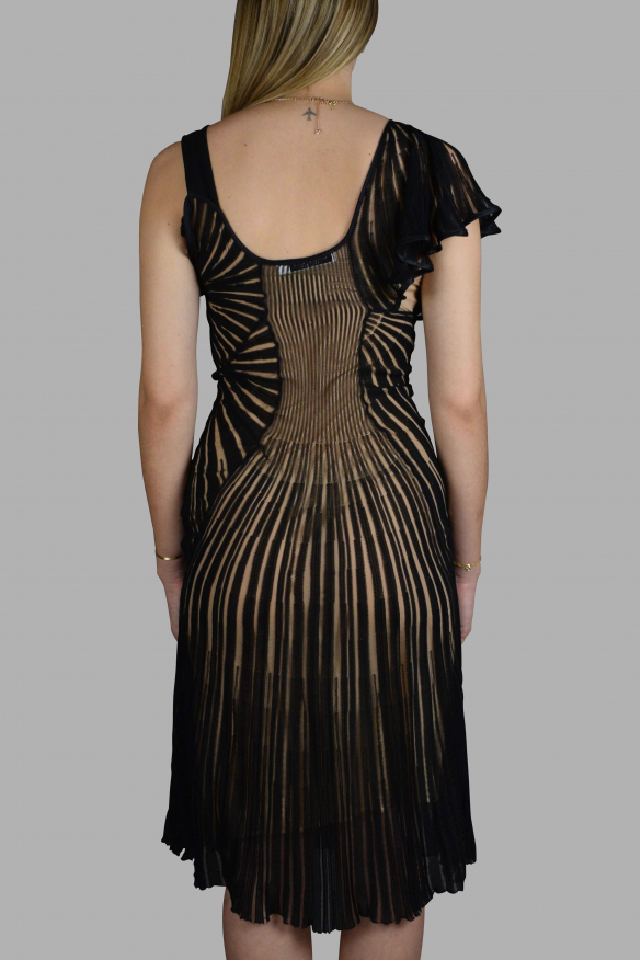 Luxury dress for women - Black Dior dress with openwork fabric.