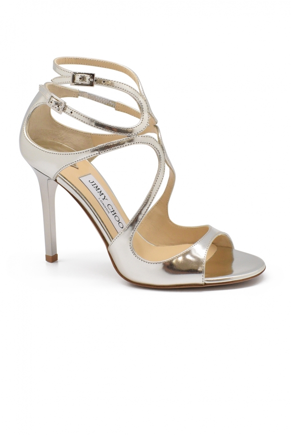 Luxury shoes for women - Jimmy Choo Lang sandals in silver leather