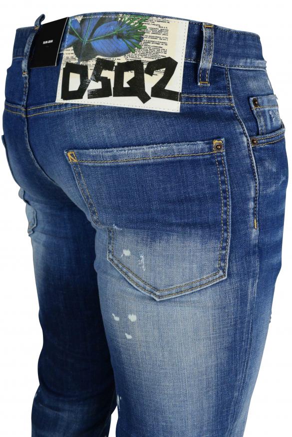 Men's designer jeans - Dsquared2 faded blue slim jeans with white label