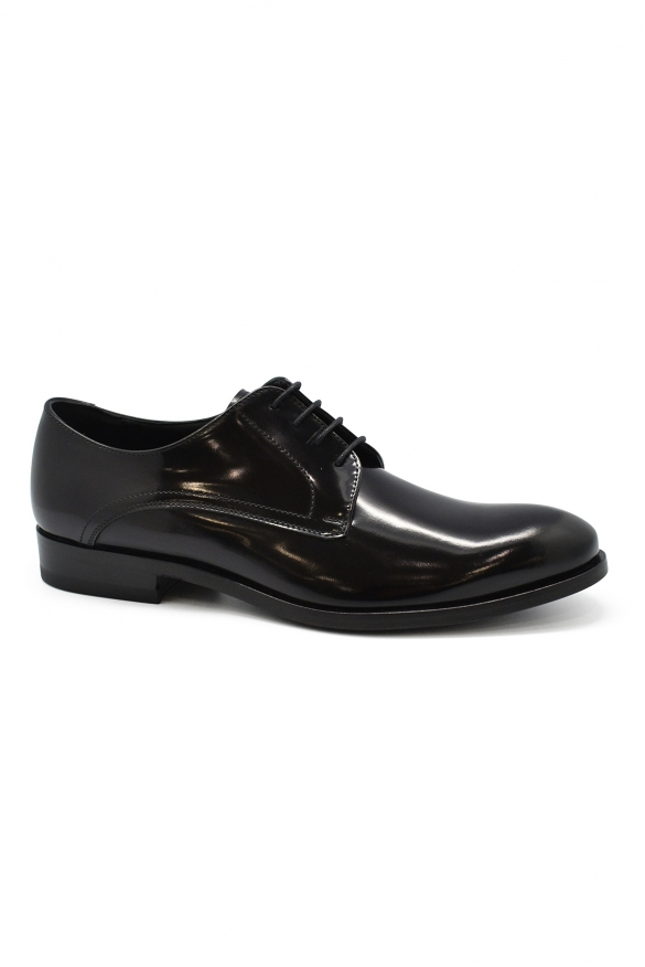 Luxury shoes for men - Black patent leather lace-up shoes