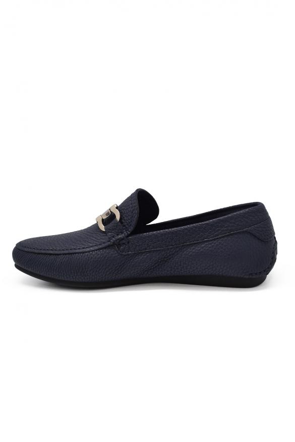 Men shoes - Salvatore Ferragamo Gancini loafers in blue leather