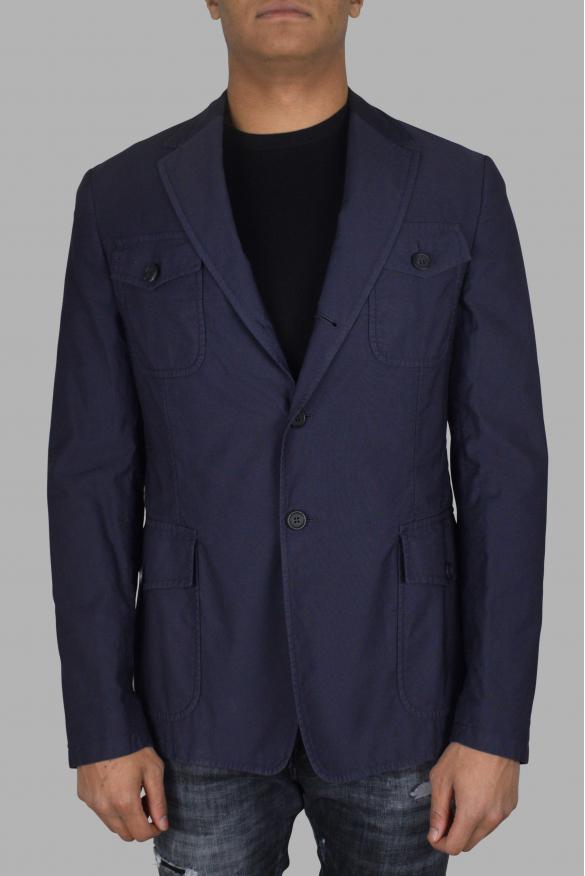 Men's luxury jacket - Prada blue cotton jacket with buttons