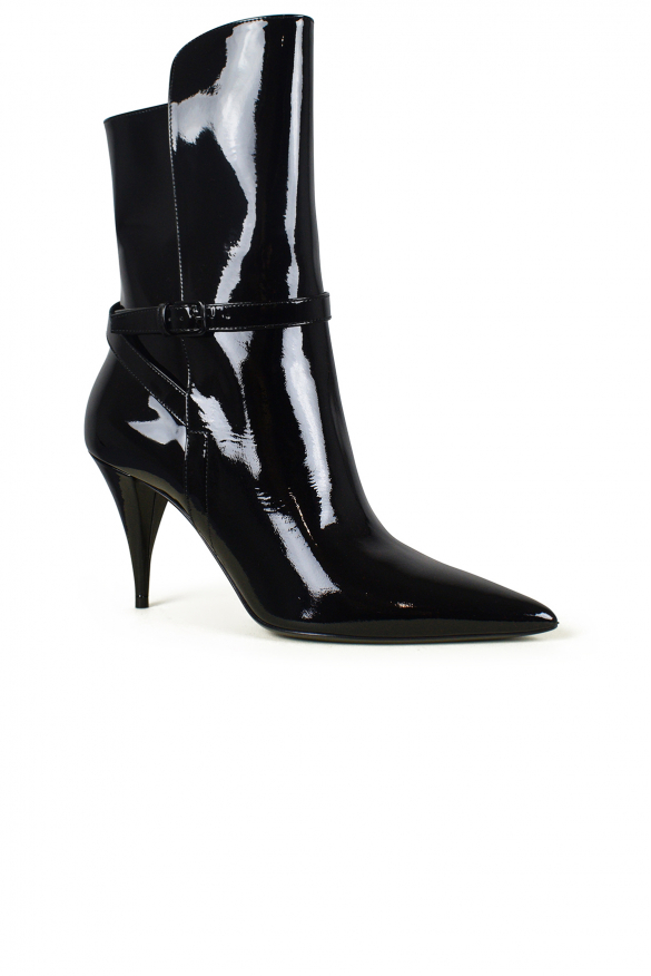 Women's luxury ankle boots - Saint Laurent model Kiki ankle boots in black patent leather