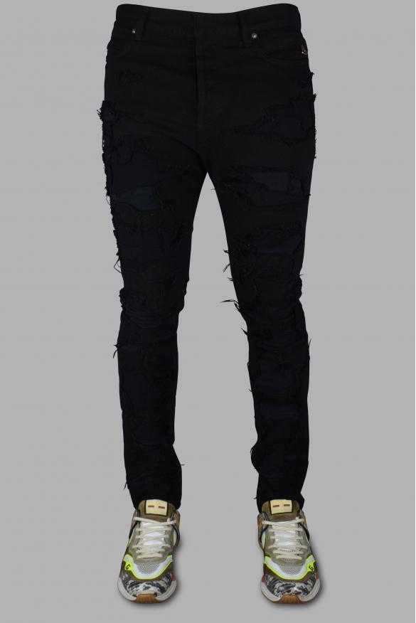 Men's designer jeans - Balmain Skinny black destroyed jean