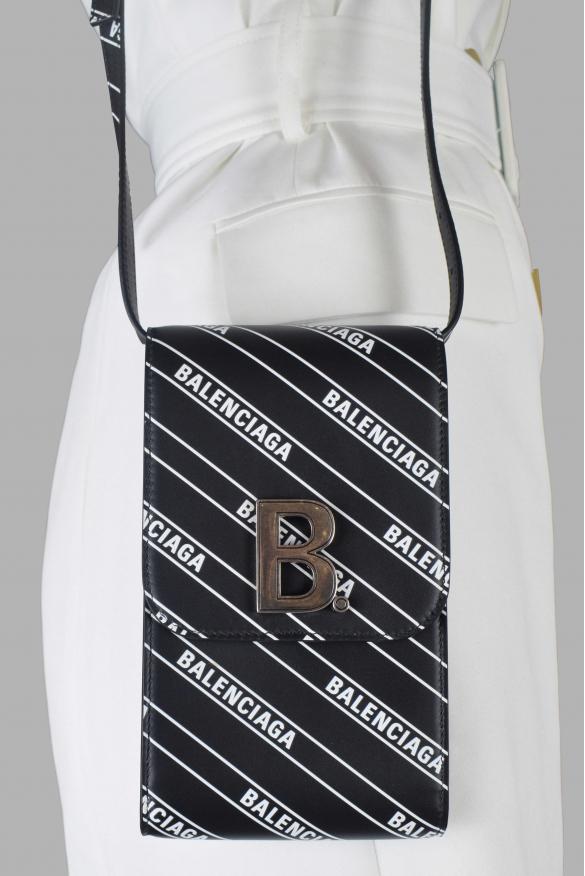 Luxury satchel - Balenciaga bag in black leather with white logo