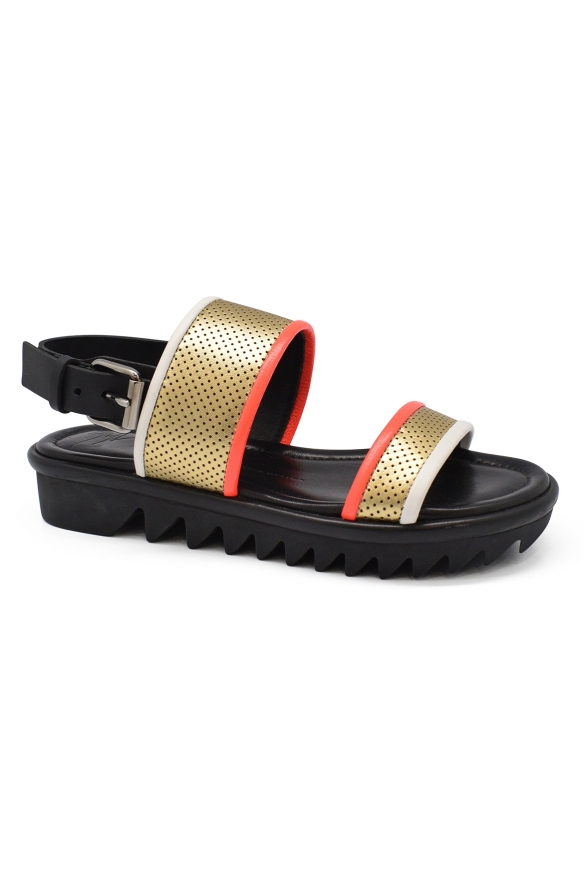 Women luxury shoes - Giuseppe Zanotti sandals in black leather with double buckle