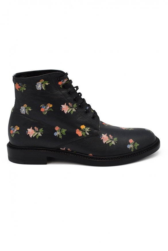 Luxury shoes for women - Saint Laurent Lolita 20 boots with flowers