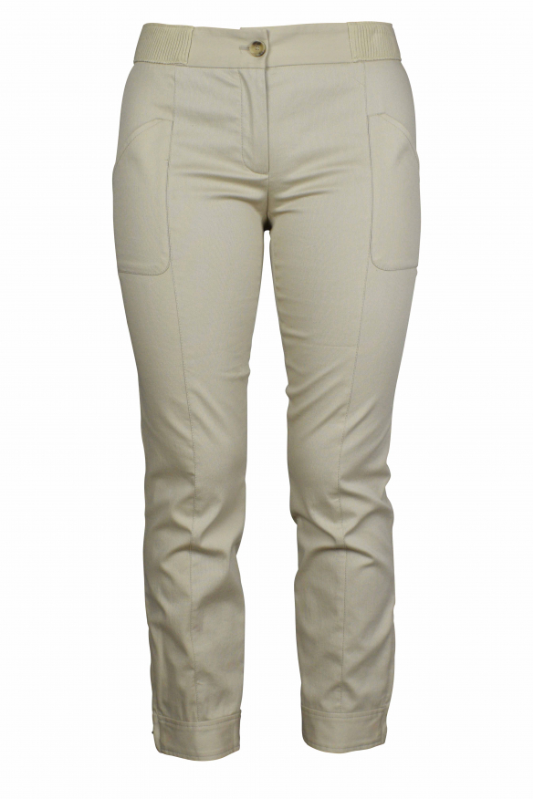 Luxury trousers for women - Dolce & Gabbana beige trousers with elastic waistband