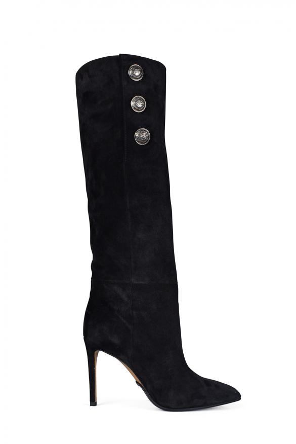 Women's luxury boots - Balmain Jane 95 model ankle boots in black suede