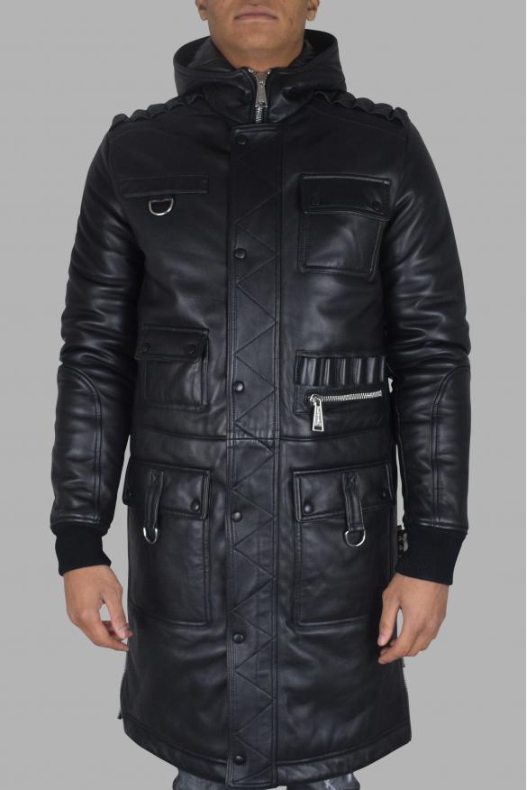 Men's luxury coat - Philipp Plein black leather coat with pockets