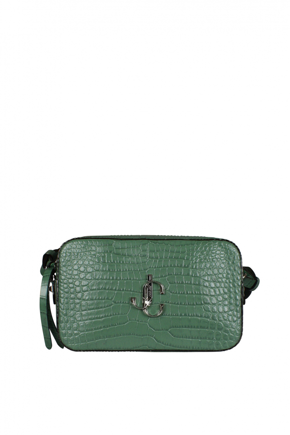 Luxury handbag - Jimmy Choo model Varenne handbag with camera embossed green croco