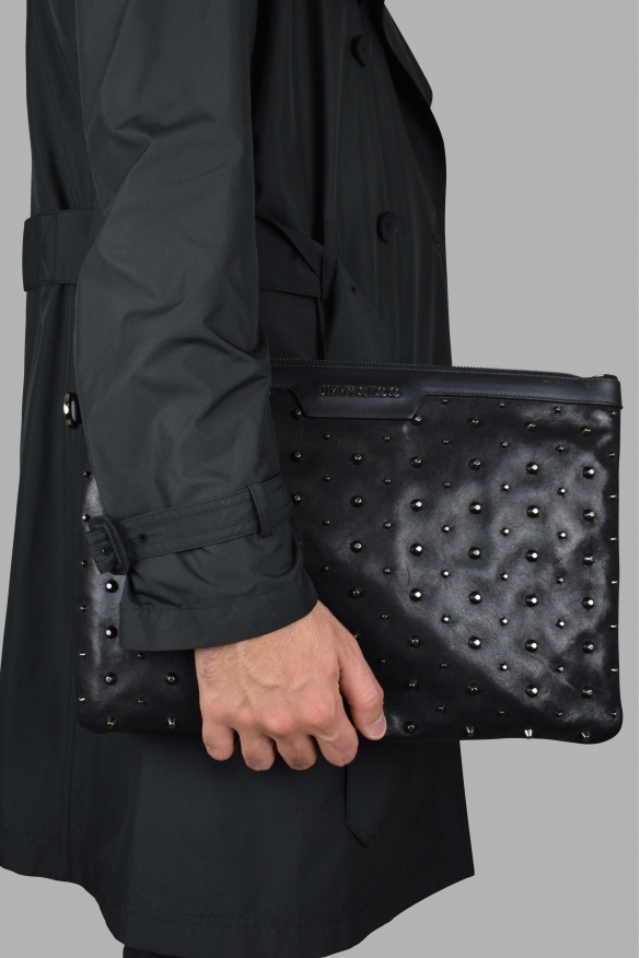 Luxury bags for men - Jimmy Choo Derek Clutch in black leather with studs