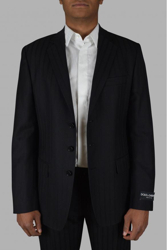 Men's luxury suit - Dolce & Gabbana black two-piece suit with a herringbone pattern