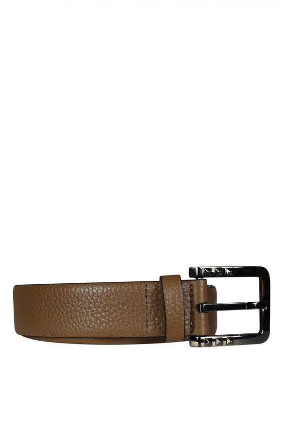 Men's luxury belt - Valentino Garavani brown leather belt
