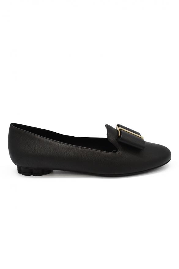 Women luxury shoes - Salvatore Ferragamo flower heel black slippers