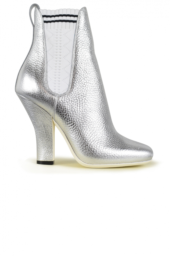 Luxury shoes for women - Fendi silver leather ankle boots with elastics