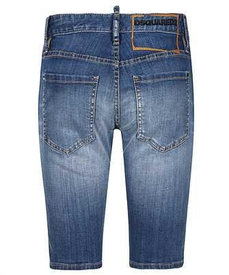 knee-length denim shorts