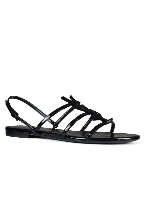 Luxury shoes for women - Saint Laurent Cassandra black leather sandals