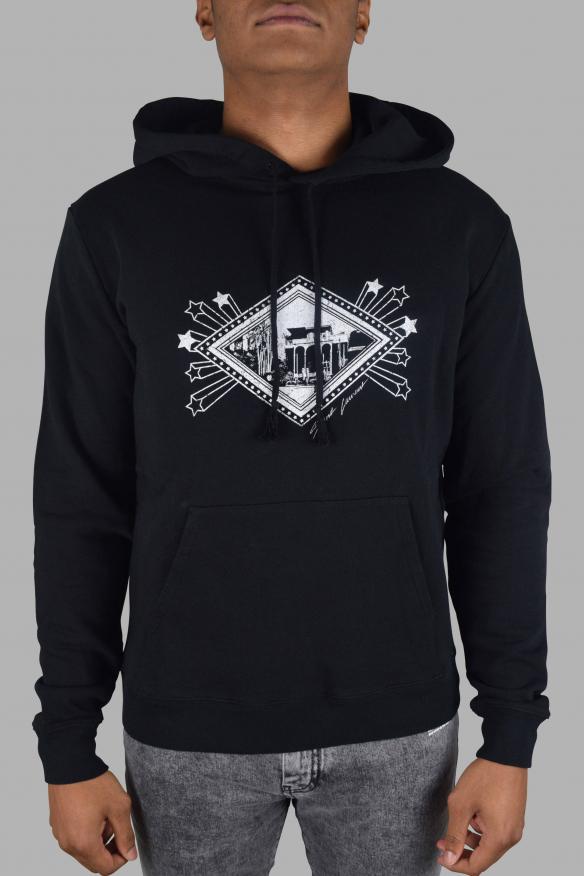 Men's luxury sweatshirt - Saint Laurent black hooded sweatshirt