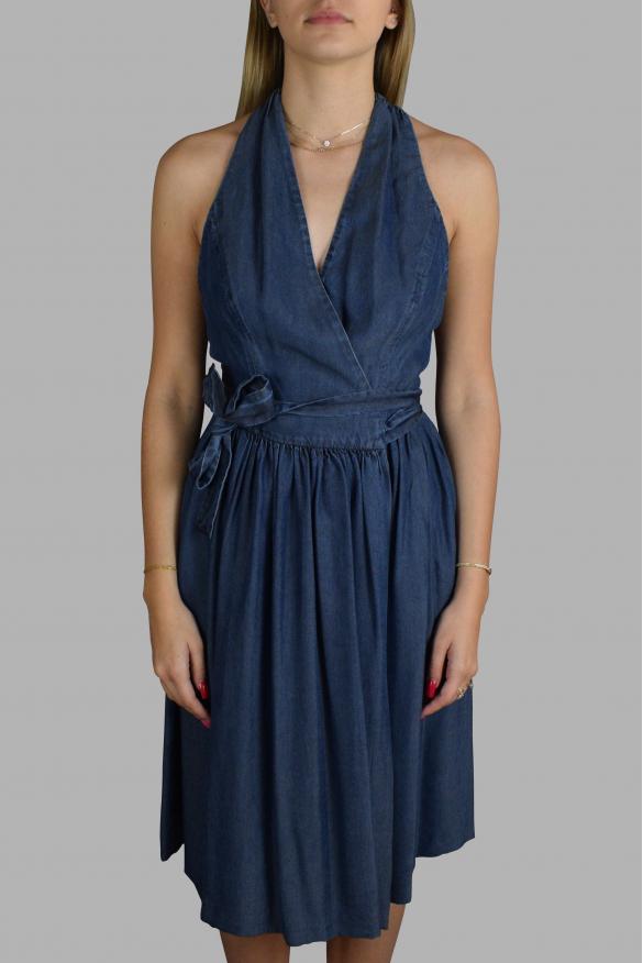 Luxury dress for women - Prada blue cross waist dress