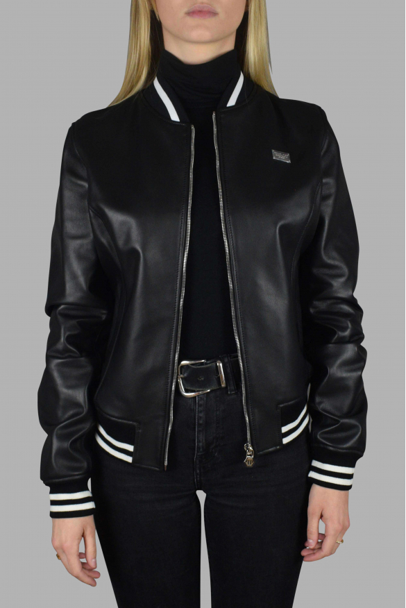 Men's luxury jacket - Philipp Plein bomber jacket in black leather with red interior