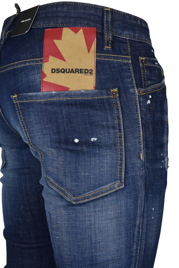 Men's luxury jean - Cool Guy Jean Dsquared2 blue with patch logo leaf