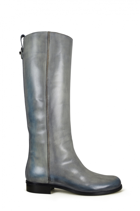 Women luxury shoes - Fendi two-colored boots in grey and blue leather