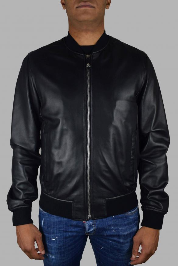 Men's luxury jacket - Philipp Plein Bomber jacket in black leather with Indian skull