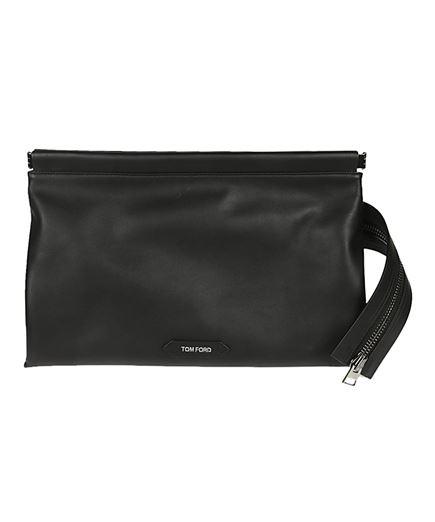 zip front clutch bag
