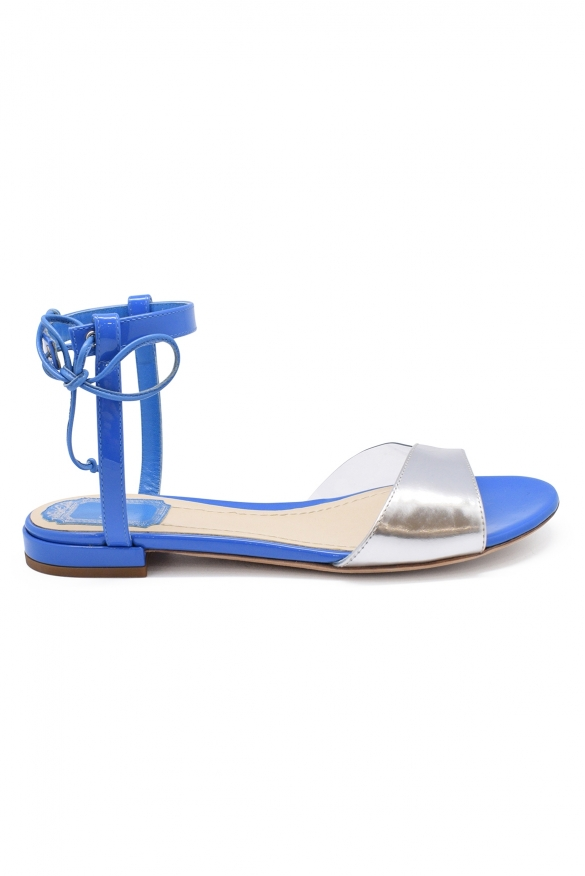 Luxury shoes for women - Dior Versatile sandals in blue leather.