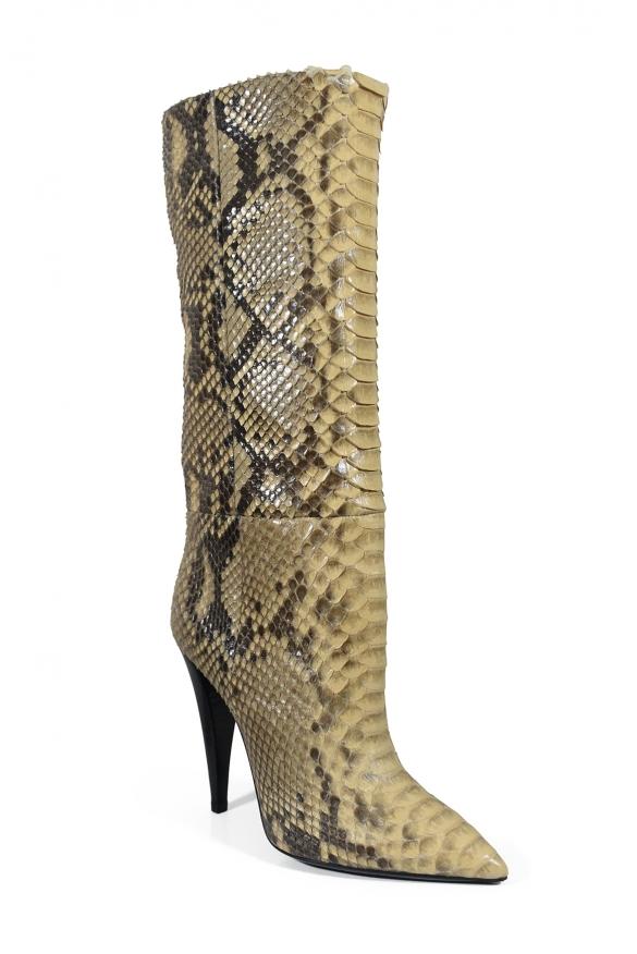 Luxury shoes for women - Saint Laurent Abbey boots in beige python